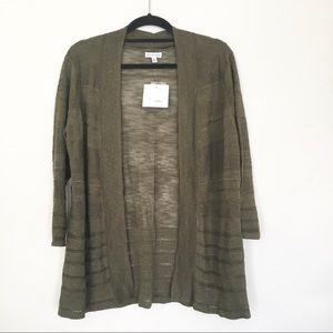 Croft + Barrow Olive 3 Quarter Sleeve Cardigan XL